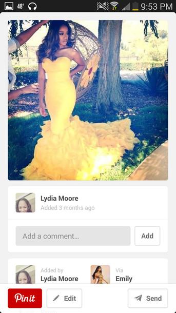 dress yellow dress mermaid prom dress