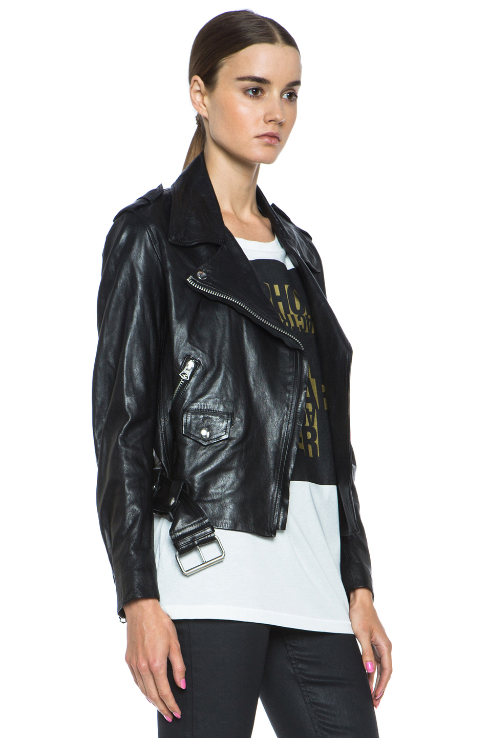 Acne Studios|Mape Lambskin Moto Jacket in Black
