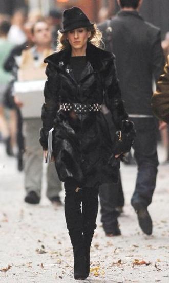 leather jacket fur coat carrie bradshaw