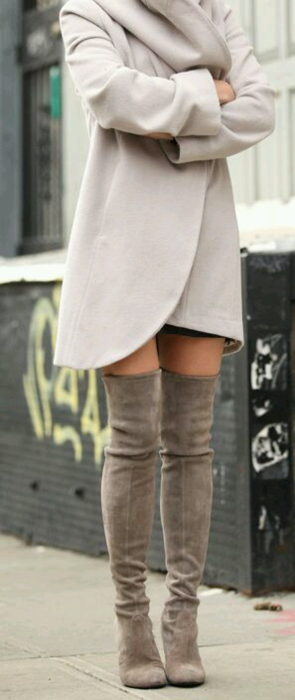 Winter Highland Thigh high Boots Suede knee Boots Sexy Grey/Black ...