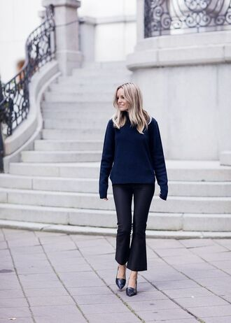 pants kick flare black pants sweater blue sweater shoes pointed toe black shoes fall outfits kick flare pants fall sweater