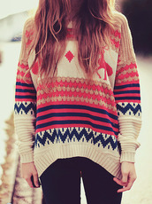 sweater,pullover,overzised,winter sweater,boho,tribal pattern,tribal sweater,spring colors,clothes,winter outfits,cozy,cozy sweather,tumblr,weheartit,shirt,colorful,jumper
