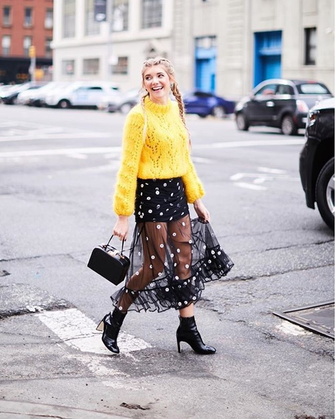 skirt black skirt yellow sweater boots black boots black bag maxi skirt see through sweater knitwear knitted sweater knit yellow ankle boots bag handbag