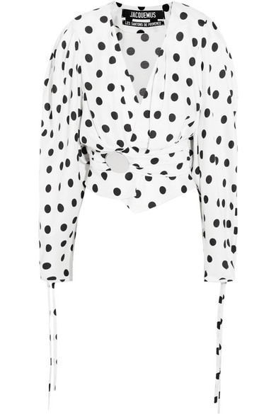Jacquemus - Cropped gathered polka-dot poplin blouse