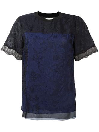top lace top women lace blue silk