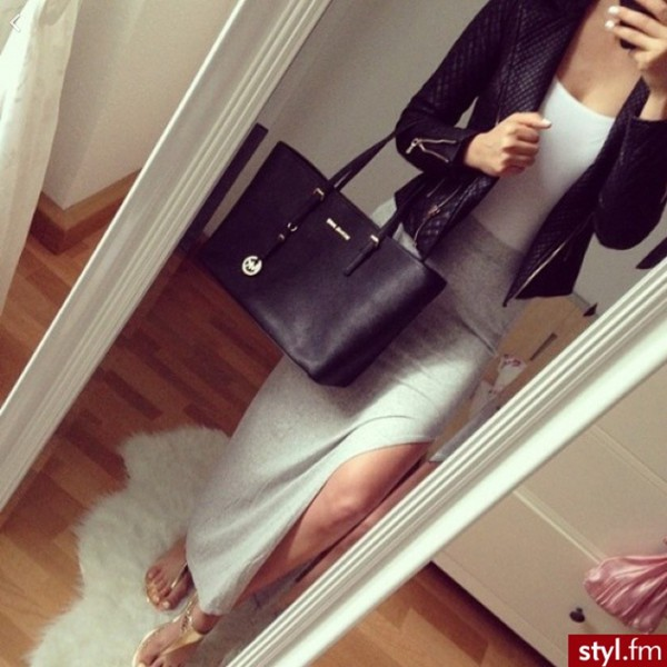 skirt grey long slit silk