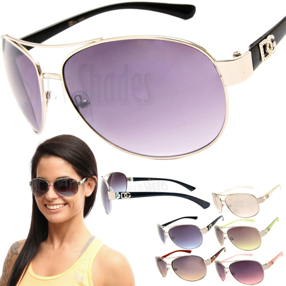 Womens DG Fashion Metal Aviator Sunglasses Celebrity Oversized Designer Shades | eBay