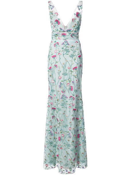 Marchesa Notte dress maxi dress maxi women floral blue