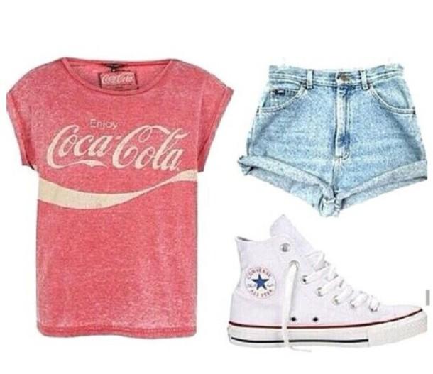 t shirt short shorts summer outfit outfit shirt wear coca