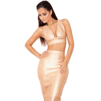 dress gold bandage dress wots-hot-right-now bandage dress gold two-piece party dress clubwear cleavage cocktail dress evening dress