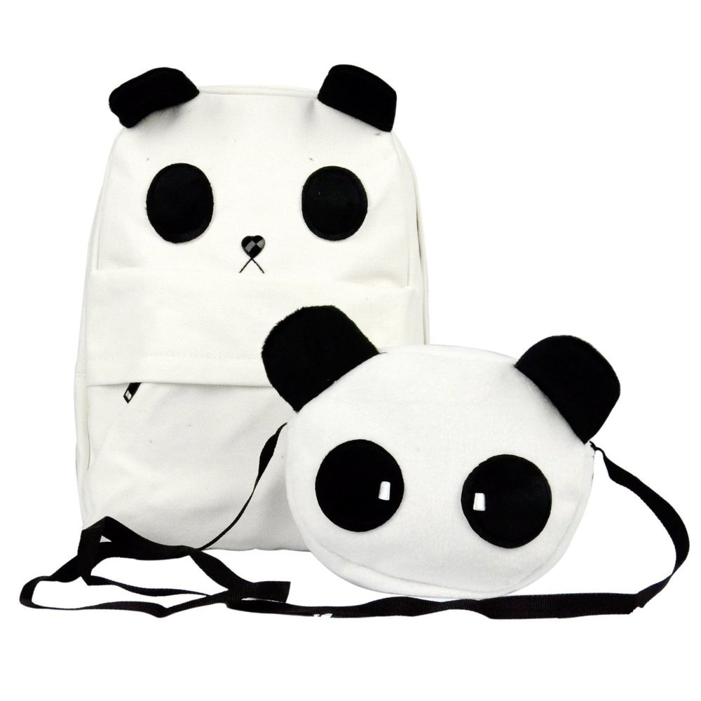 Shipping Cute Panda Shape Backpack Women's Canvas School Bag ...