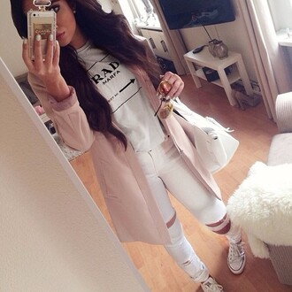 shirt white ripped jeans chuck taylor all stars iphone case purse coat t-shirt jewels jeans prada