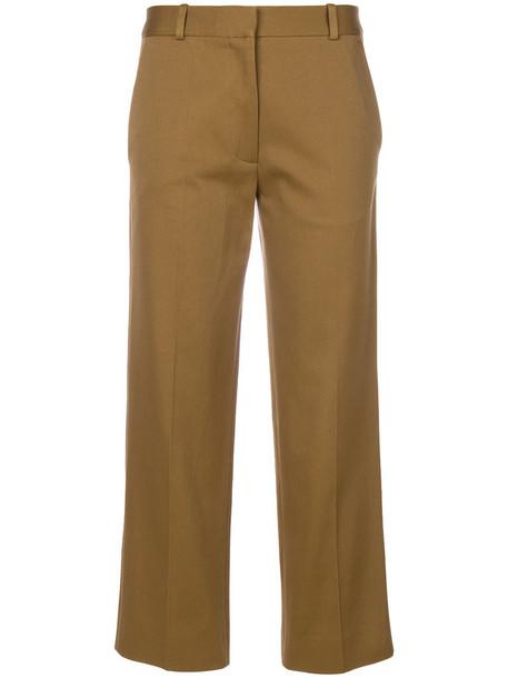 Victoria Beckham cropped women cotton green pants