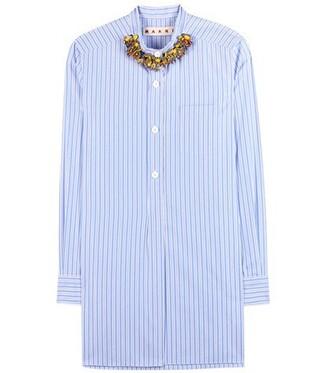 blouse embellished cotton blue top