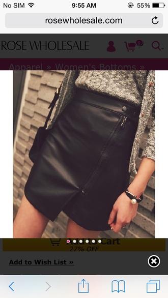 black leather skirt leather skirt asymmetrical skirt grey cardigan black skirt