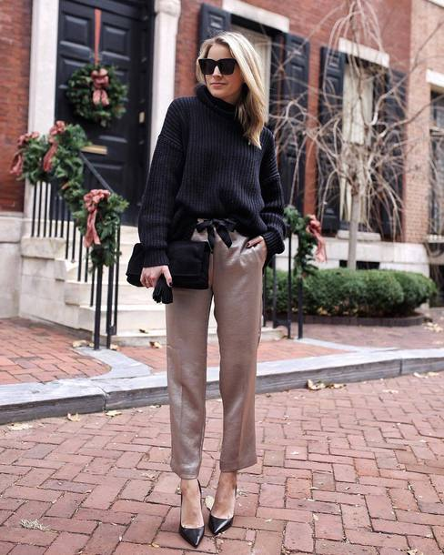 pants tumblr grey pants satin satin pants pumps pointed toe pumps sweater knit knitwear knitted sweater black sweater sunglasses
