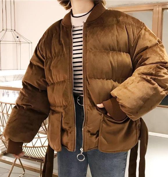 jacket girly velvet puffer jacket