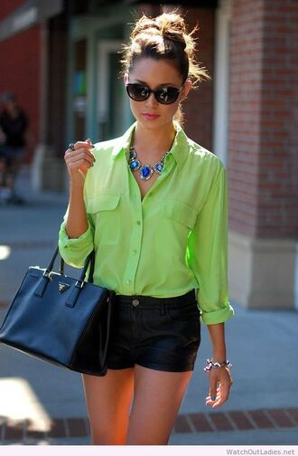 blouse fashion neon green black shorts long sleeves handbag sunglasses