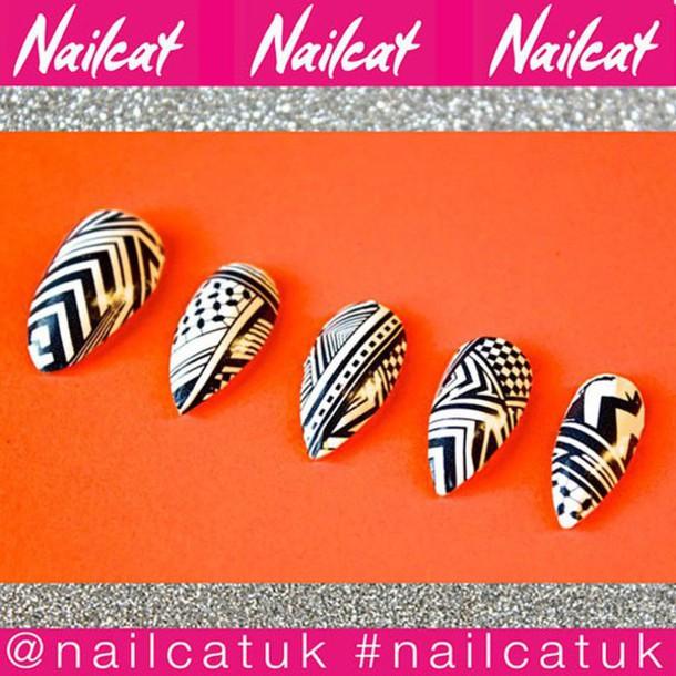 nail accessories nail decals nail polish nail art nail stickers nail wraps nail print aztec aztec nails nail decal nails nail covers nail cat print spike nails navajo geometric monochrome black and white