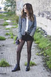 shoes and basics,blogger,jacket,shirt,shorts,bag,shoes,denim jacket,black shorts,boots,ankle boots,fall outfits