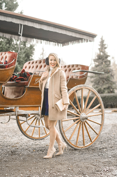 a lonestar state of southern blogger coat skirt top shoes bag jewels pumps beige coat earmuffs winter outfits