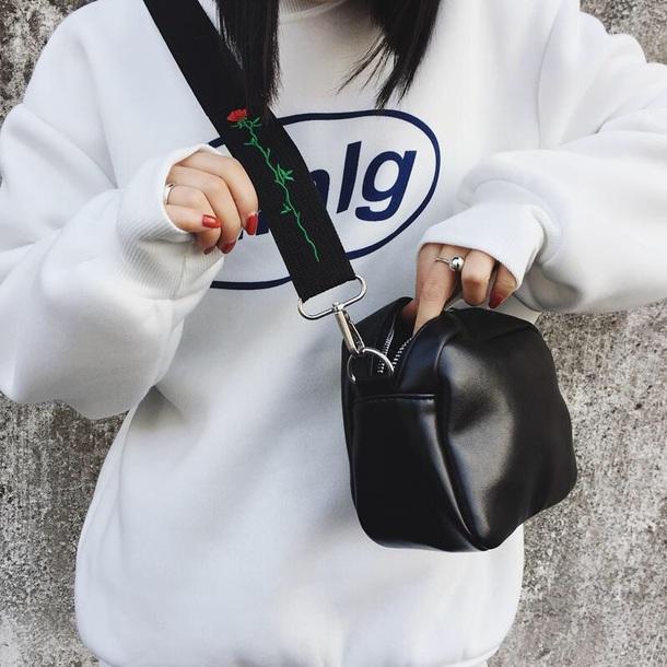 bag girly black leather leather bag crossbody bag rose