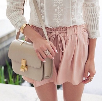 shorts fashion vibe blouse dusty pink bag