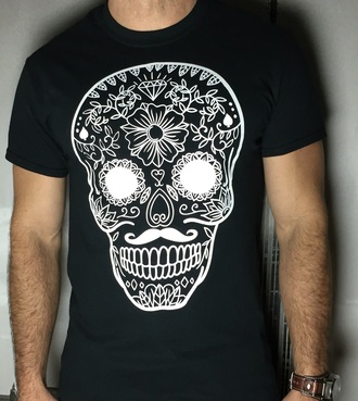 shirt t-shirt mexican skulll diamonds floral vintage style tumblr pinterest
