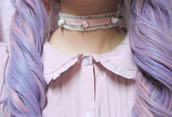 jewels,cute,roses,kawaii,pastel,pink,lacy,choker necklace
