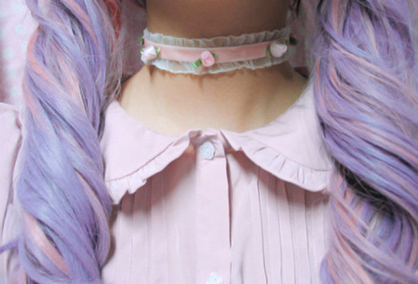 jewels cute roses kawaii pastel pink lacy choker necklace