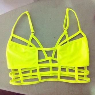 swimwear neon yellow bikini bikini top bright