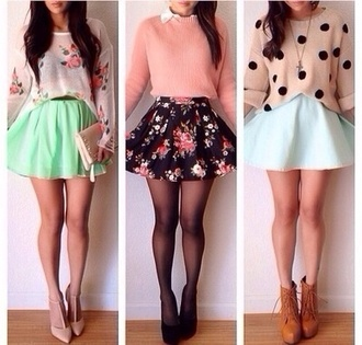 sweater shoes skirt tumblr jumper boots mint combat lovely wool knitwear knit flowers polka dots colorful blue skirt floral skirt cute cute high heels cute sweaters floral short party dresses outfit high heels high waisted skirt flowery skirt cute stuff cute outfits girly