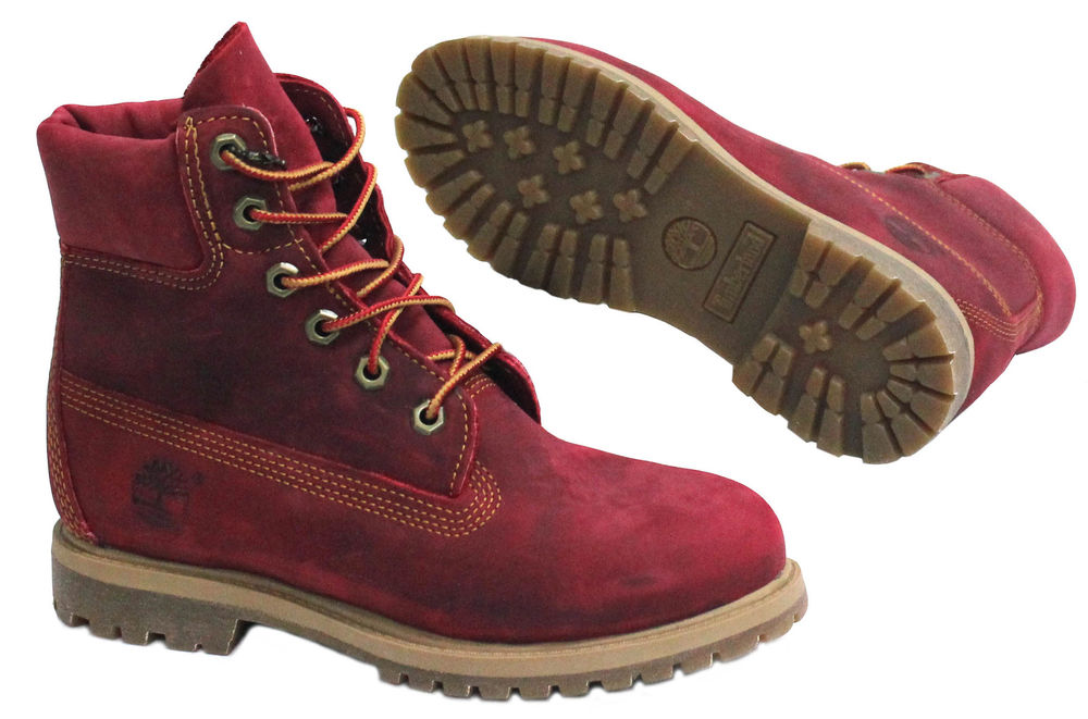 Timberland AF 6 Inch Premium Womens Girls Red Leather Boots Lace Up (3204R)
