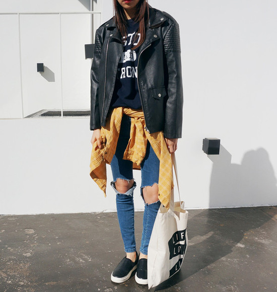jeans pants blue blue pants black white bag tumblr shirt leather jacket jacket flannel tote bag girl model yellow shoes trainers plimsolls vans sneakers cute long