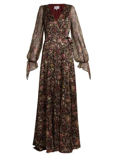 LUISA BECCARIA gown sheer floral print silk black dress