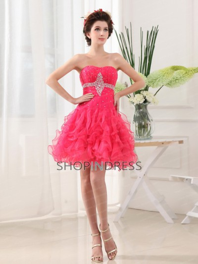 A line sequined and beaded sweetheart mini/short bodice organza prom dress tskn3026 sale at shopindress.com