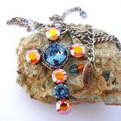 jewels,siggy jewelry,swarovski,cross,pendant,statement necklace,faith necklace,faith jewelry,religious jewelry,religious gifts,denim blue,denim,orange,bling,sparkle,gift ideas,holiday gift,etsy,etsy seller