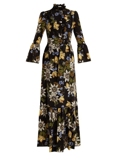 Erdem gown floral print silk black dress
