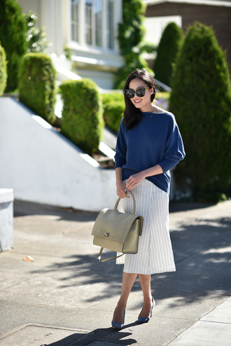sweater skirt tumblr blue sweater midi skirt white skirt stripes striped skirt bag pumps sunglasses shoes work outfits office outfits