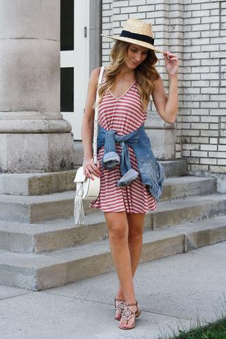 twenties girl style blogger dress jacket shoes bag hat jewels red dress straw hat mini dress striped dress stripes white bag shoulder bag flats printed sandals
