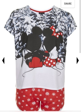 pajamas top shop mickymouse minnie mouse shorts t-shirt