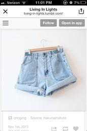 shorts,blue,light blue,blue shorts,blue jeans,denim shorts,High waisted shorts,high wasted jean shorts,cute,elastic,elastic waist,high-waist jean shorts
