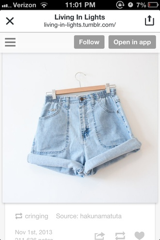 shorts blue light blue blue shorts blue jeans denim shorts high waisted shorts high wasted jean shorts cute elastic elastic waist high-waist jean shorts