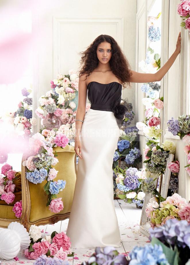 Natural Waist Organza Strapless Ruching Flower Bridesmaid Dress - Promdresshouse.com