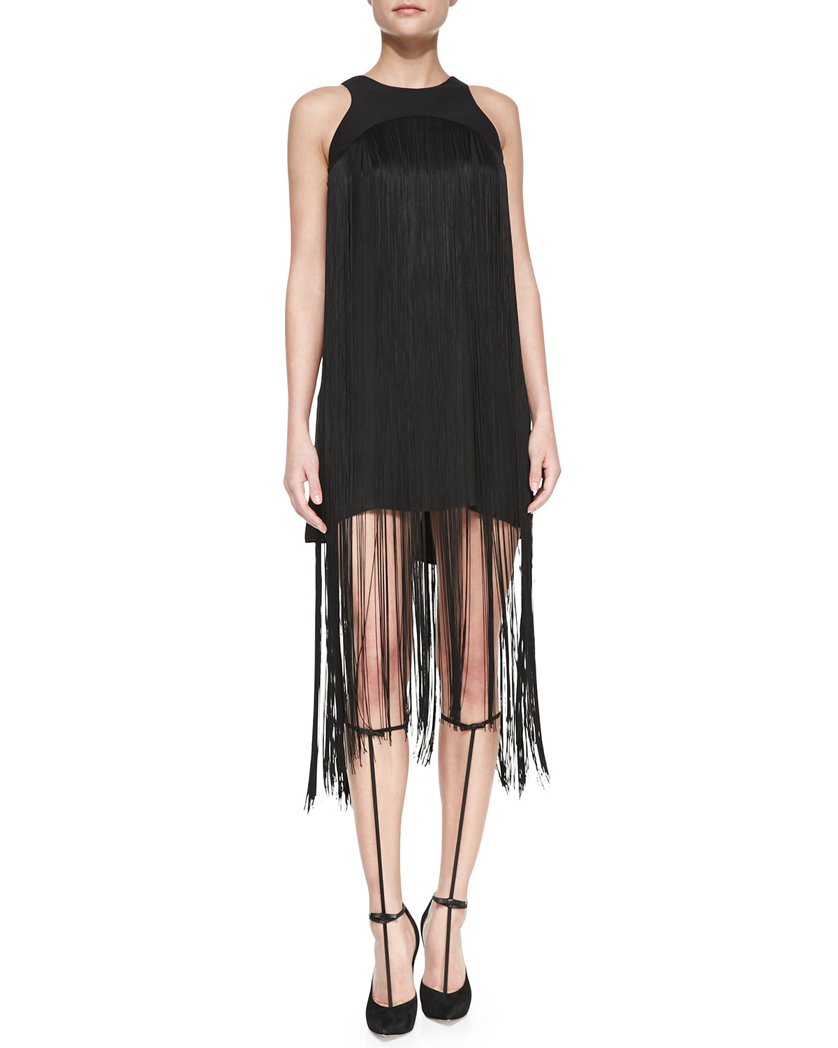 Alexis Vardenis Sleeveless Fringe-Overlay Dress