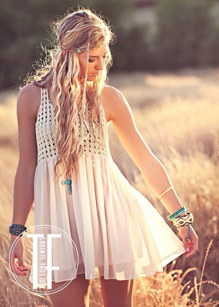 Dress white cream flowy boho bohemian boho chic country summer summer dress crochet ...