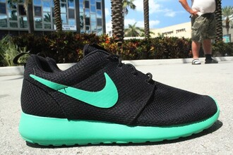 nike roshe run black and teal black and turquoise shoes