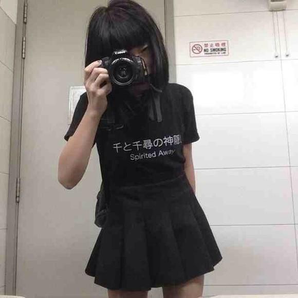 shirt t-shirt black kawaii dark kawaii kawaii grunge skirt