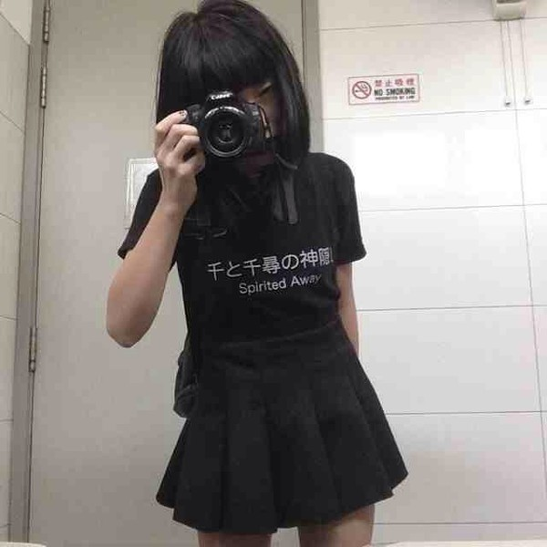 t-shirt shirt kawaii dark kawaii kawaii grunge skirt black white japan japanese studio ghibli anime kanji spirited away spirited away black shirt white shirt lettering japanese lettering grunge dark dark fashion alternative shirt spirited away shirt alternative grunge blouse black japanese writing grunge