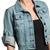 MOGAN Urban Chic Rolled 3 4 Sleeve Classic Denim Jacket Blue Washed Jean Shirts   eBay